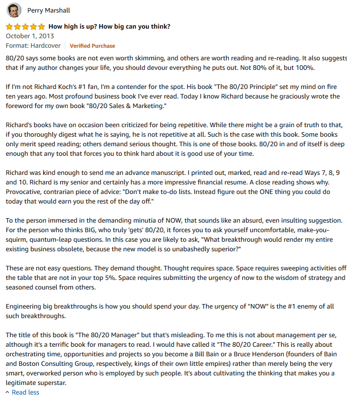 Perry Marshall review on 8020 Manager